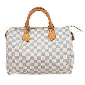 Auth Louis Vuitton Speedy 30 Damier Azur Hand Bag